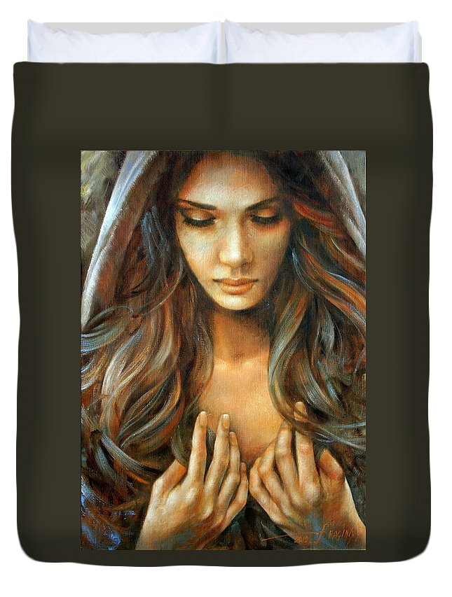 Nude Prints Duvet Cover featuring the painting The Prayer by Arthur Braginsky