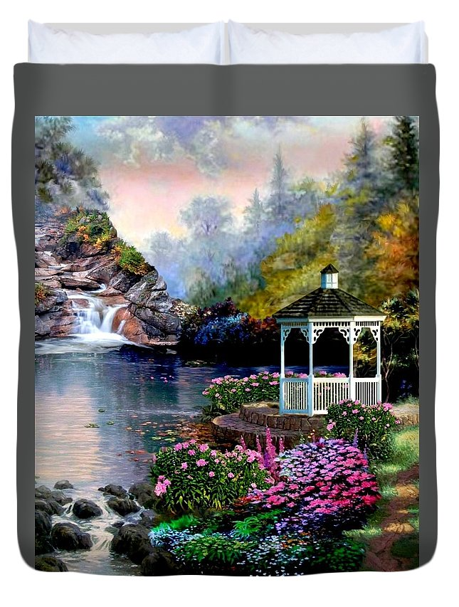 The Duvet Cover featuring the painting The Prayer Garden by Ron Chambers