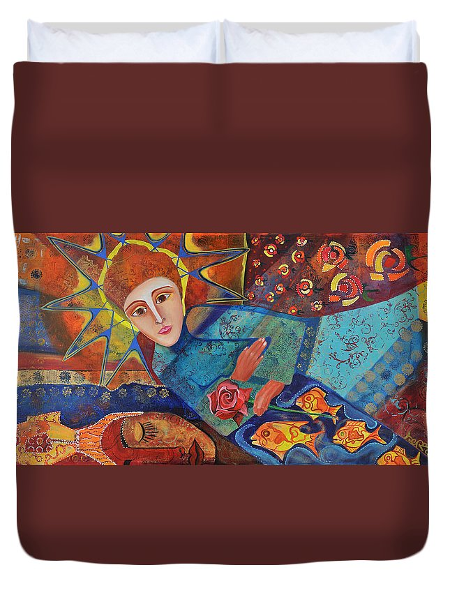 Starchild Duvet Cover featuring the painting the Prayer by Jeanett Rotter