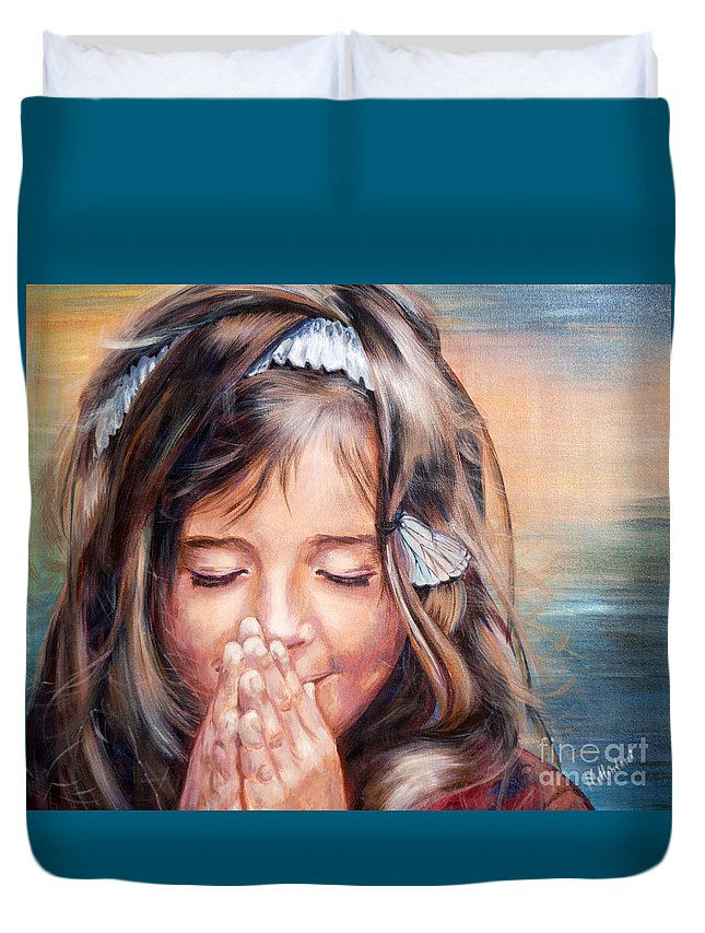 Children Duvet Cover featuring the painting A Wish by Inessa Cellentani