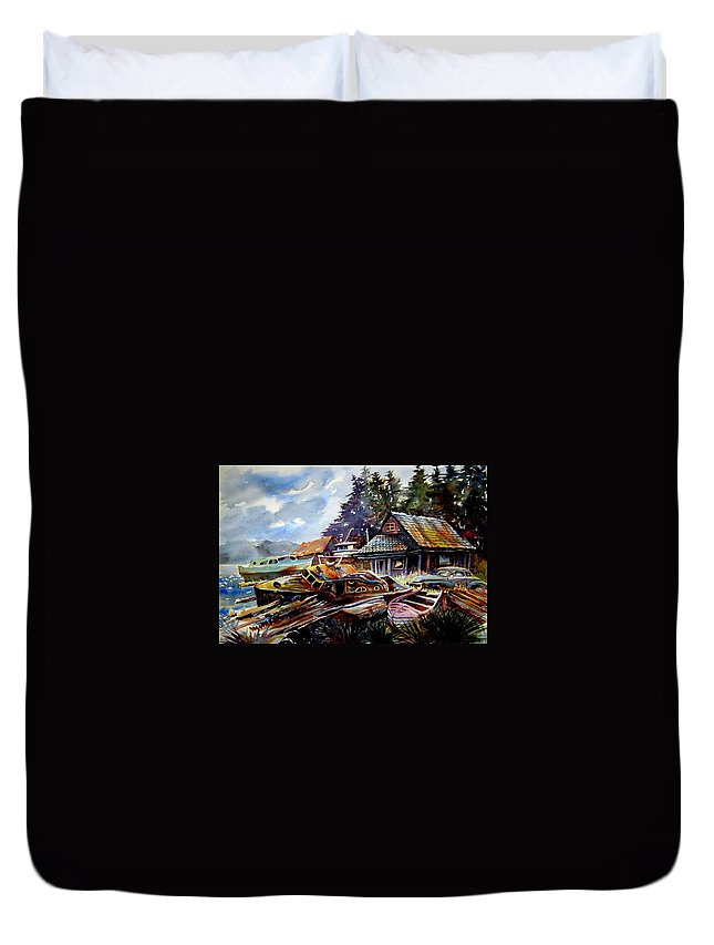 Boats Duvet Cover featuring the painting The Preserve Of Captain Flood by Ron Morrison