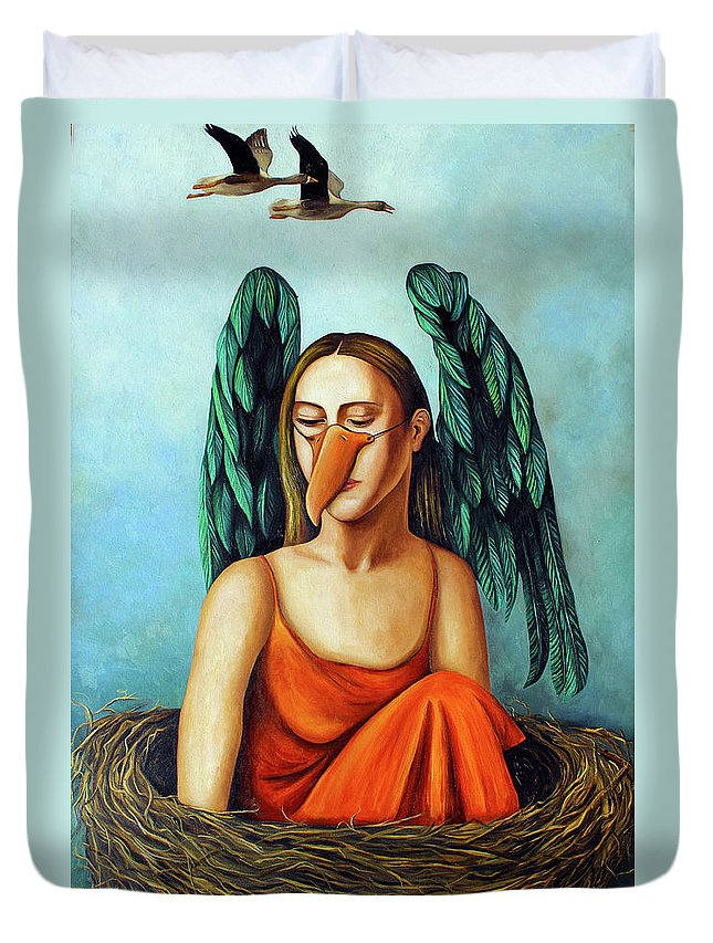 Bird.geese.mask Duvet Cover featuring the painting The Pretender by Leah Saulnier The Painting Maniac