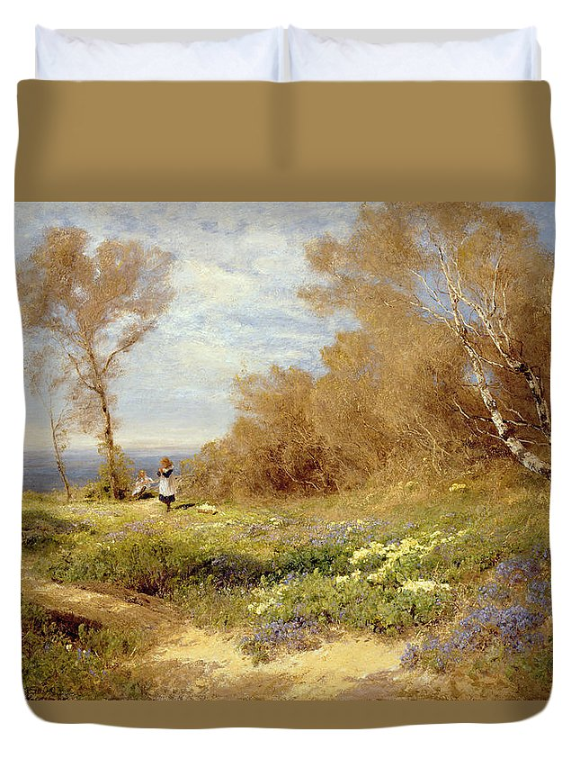 The Primrose Gatherers (oil On Canvas) By John Clayton Adams (1840-1906) Duvet Cover featuring the painting The Primrose Gatherers by John Clayton Adams