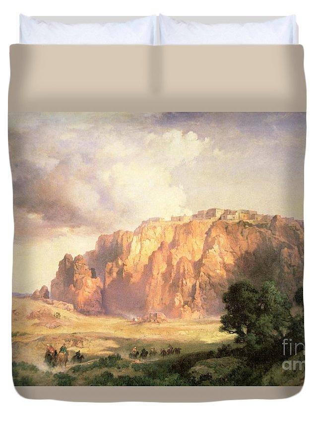 The Pueblo Of Acoma Duvet Cover featuring the painting The Pueblo Of Acoma In New Mexico by Thomas Moran