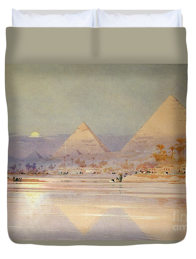 The Duvet Cover featuring the painting The Pyramids At Dusk by Augustus Osborne Lamplough