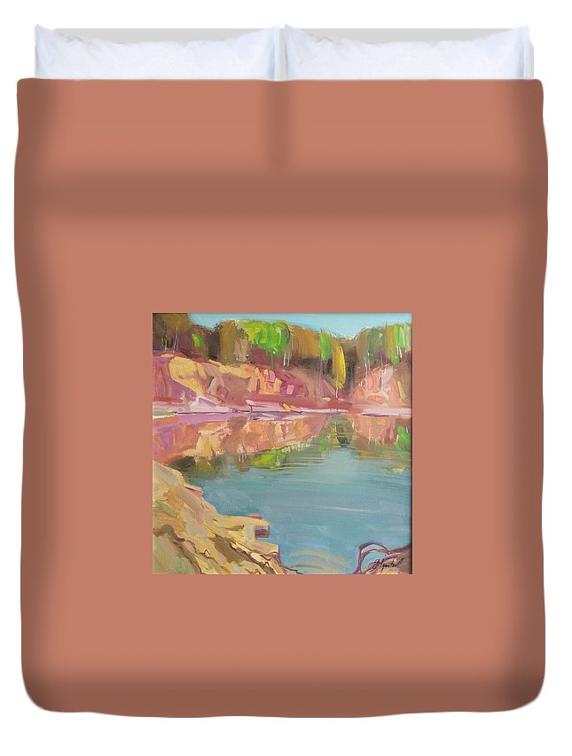 Oil Duvet Cover featuring the painting The Quarry by Sergey Ignatenko