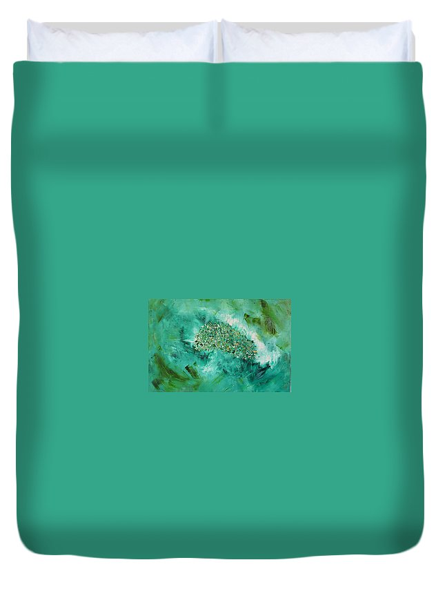 Question Duvet Cover featuring the painting The Question by Dawn Hough Sebaugh