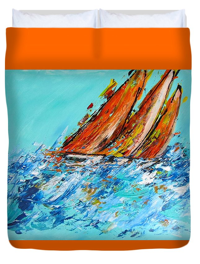 Boats Duvet Cover featuring the painting The Race by Barbara O'Toole