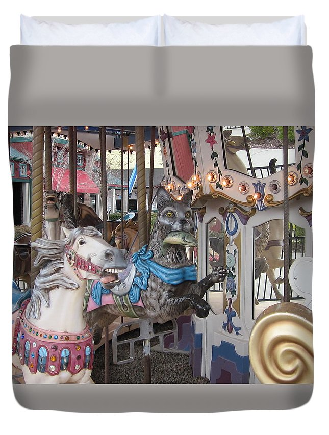 Carousel Duvet Cover featuring the photograph The Race Is On by David Sutter
