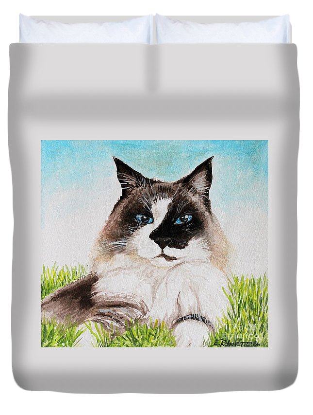 Pet Duvet Cover featuring the painting The Ragdoll by Elizabeth Robinette Tyndall