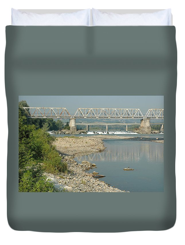 Bridge Duvet Cover featuring the photograph The Railway Bridge by Guido Strambio
