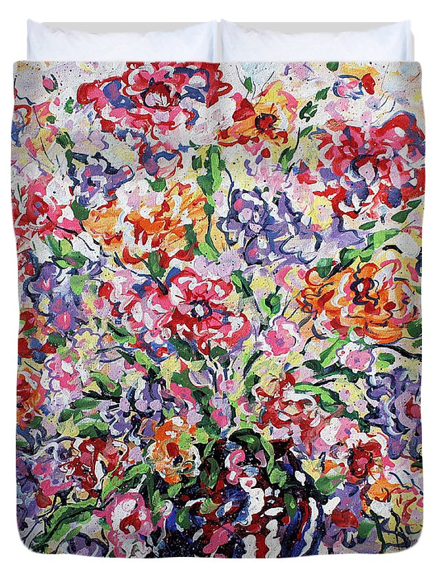 Flowers Duvet Cover featuring the painting The Rainbow Flowers by Leonard Holland