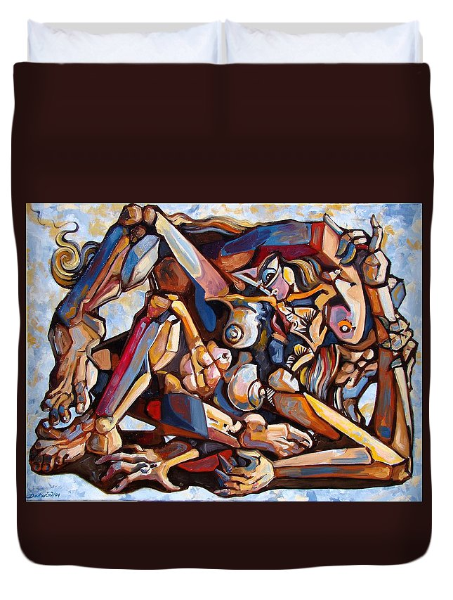 Surrealism Duvet Cover featuring the painting The Rape by Darwin Leon
