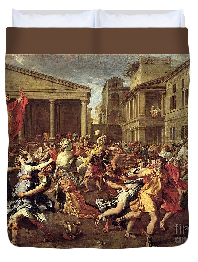 The Duvet Cover featuring the painting The Rape Of The Sabines by Nicolas Poussin
