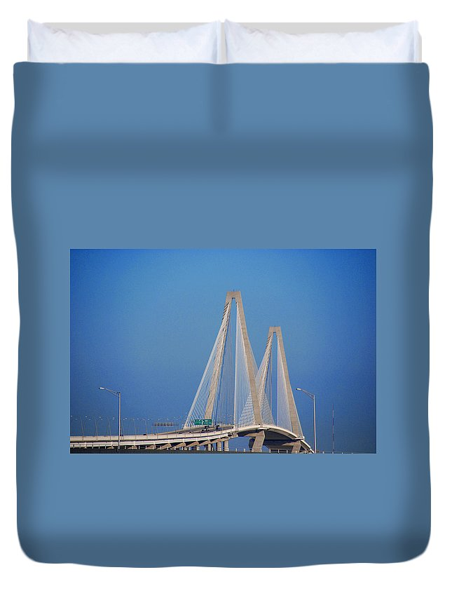 Photography Duvet Cover featuring the photograph The Ravanel Bridge In Charleston by Susanne Van Hulst