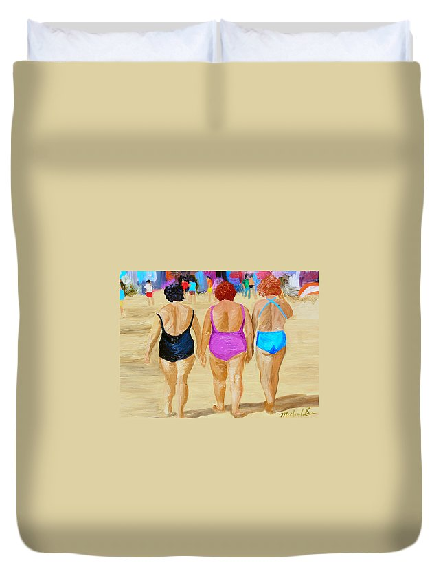 Beach Scenes Duvet Cover featuring the painting The Real South Beach by Michael Lee