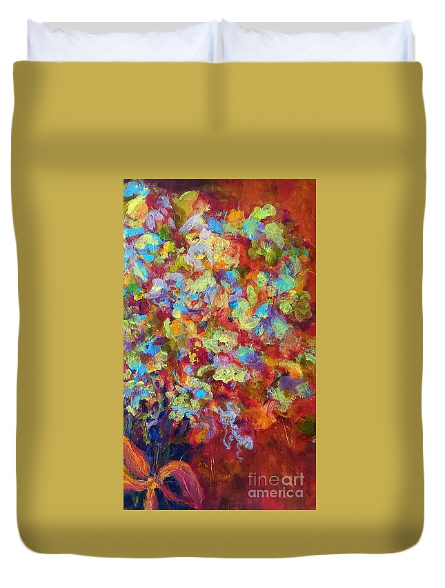 Floral Duvet Cover featuring the painting The Red Bouquet by Patty Mowatt