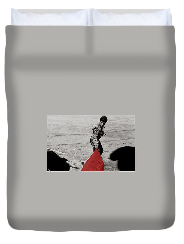 Cape Duvet Cover featuring the photograph The Red Cape by Michael Mogensen
