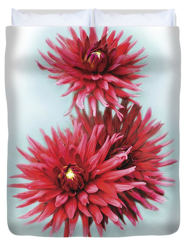 Garden Duvet Cover featuring the digital art The Red Dahlia by Barbara Hymer