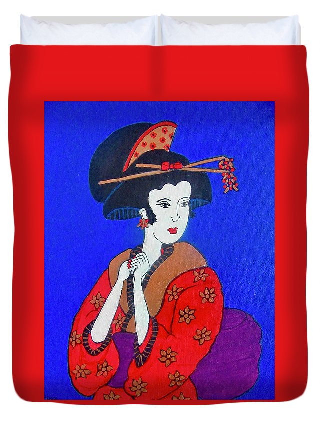 Geishe Duvet Cover featuring the painting The Red Geisha by Stephanie Moore
