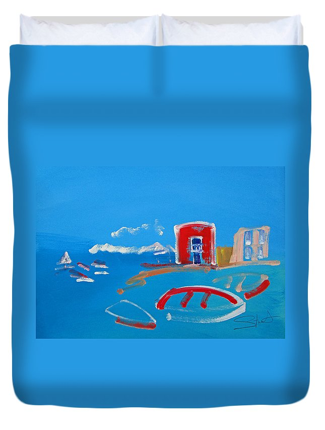 Puerto Duvet Cover featuring the painting The Red House La Casa Roja by Charles Stuart