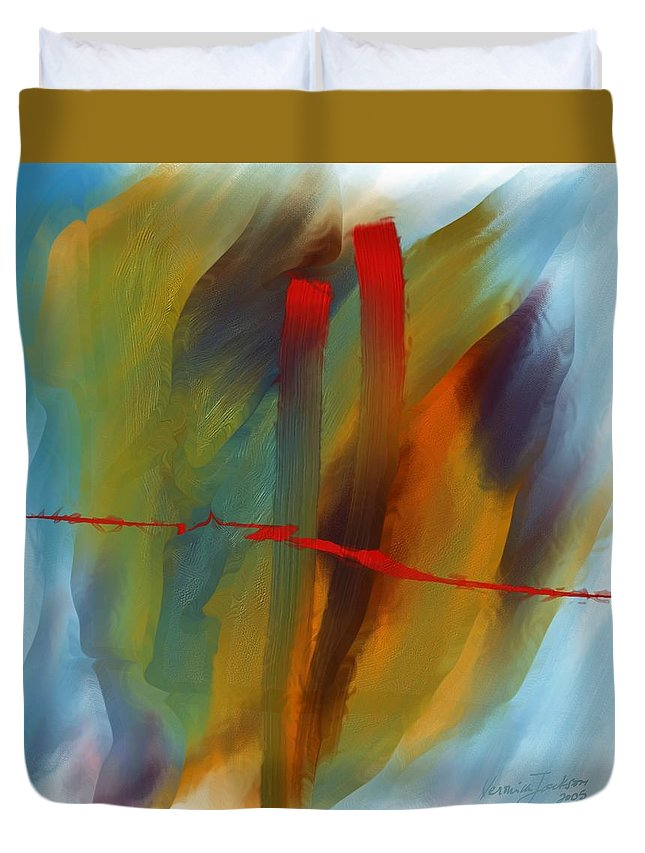 Red Abstract Lines Soft Moves Air Water Duvet Cover featuring the digital art The Red Line by Veronica Jackson