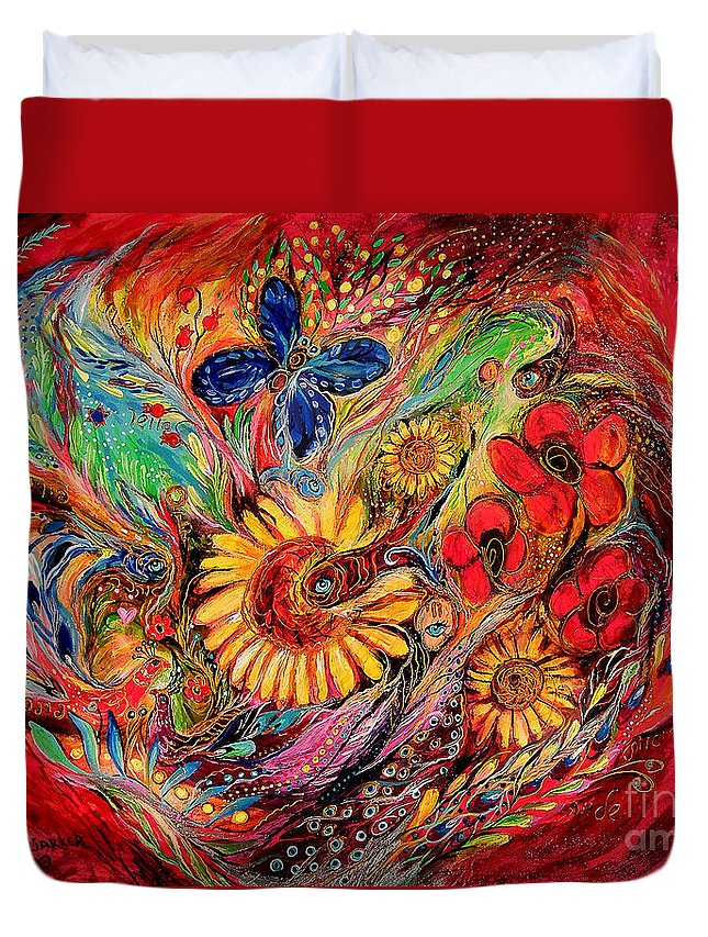Original Duvet Cover featuring the painting The Red On Red by Elena Kotliarker