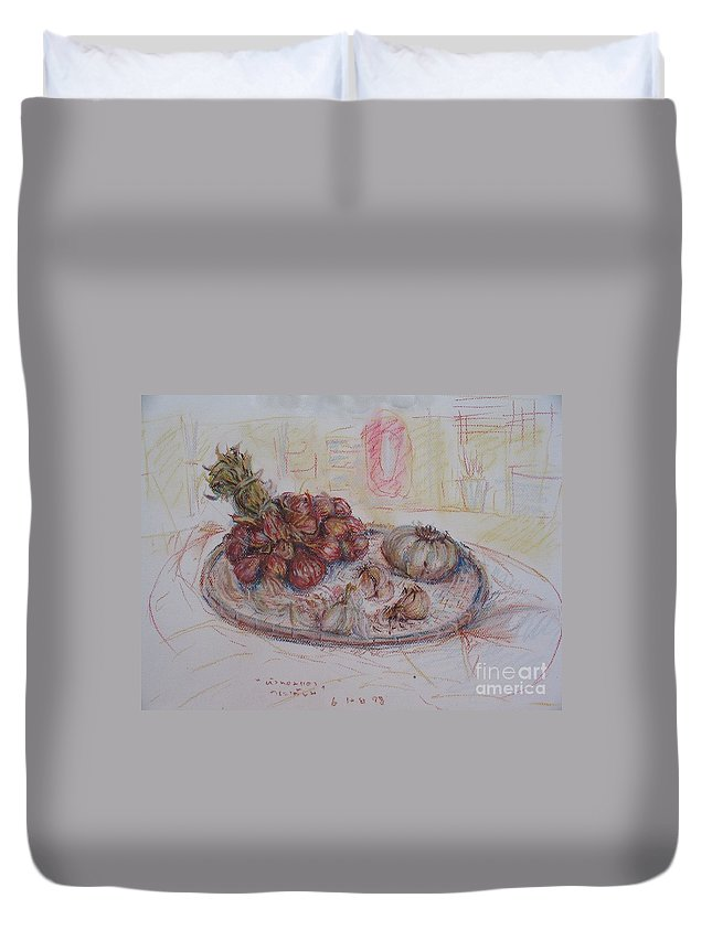 Onion Duvet Cover featuring the painting The Red Onion by Sukalya Chearanantana