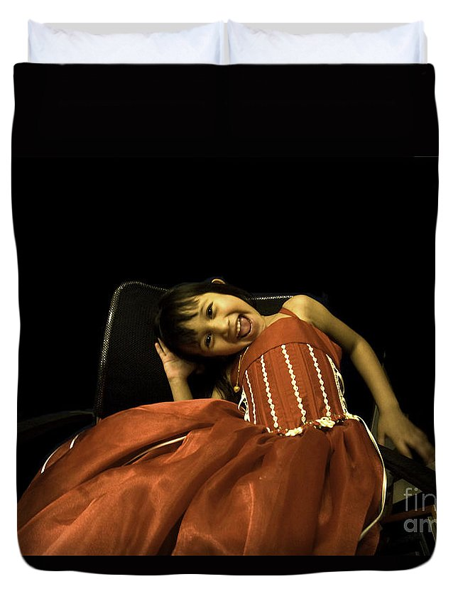 Girl Duvet Cover featuring the photograph The Red Party Dress by Madeline Ellis
