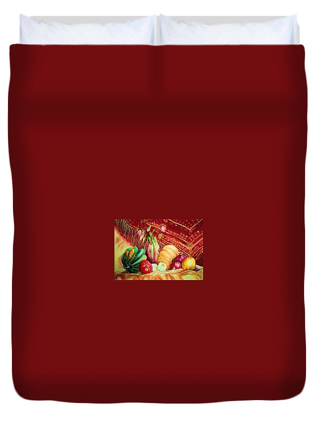 Reds Duvet Cover featuring the painting The Red Shawl by Carole Spandau