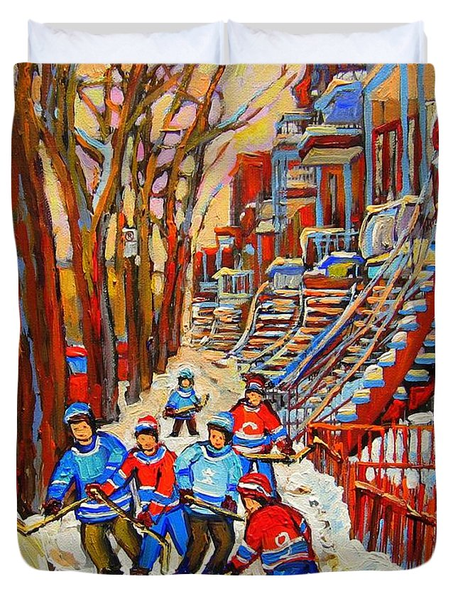 Duvet Cover featuring the painting The Red Staircase Painting By Montreal Streetscene Artist Carole Spandau by Carole Spandau
