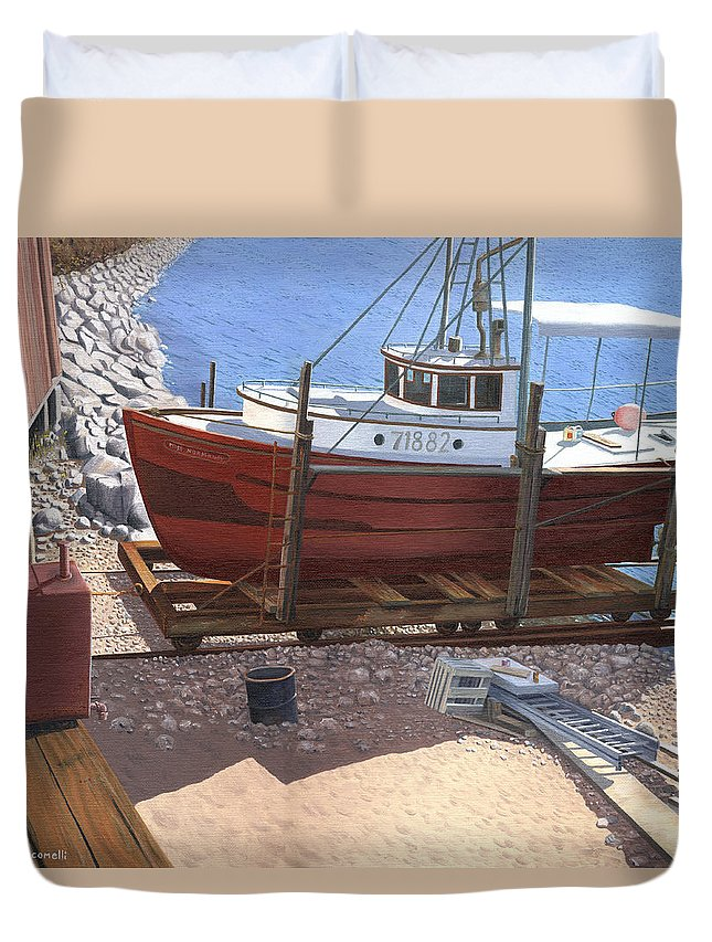 Fishing Boat Duvet Cover featuring the painting The Red Troller by Gary Giacomelli