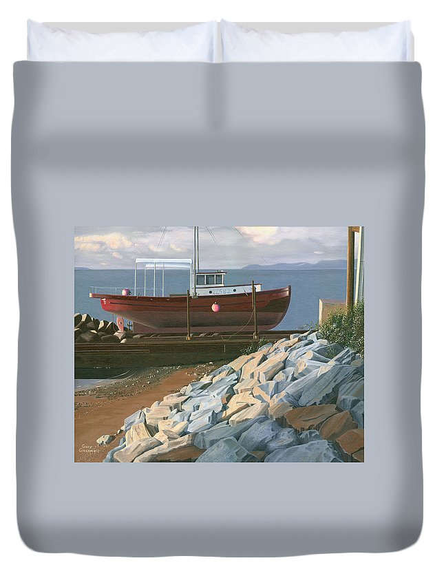 Ship Duvet Cover featuring the painting The Red Troller Revisited by Gary Giacomelli