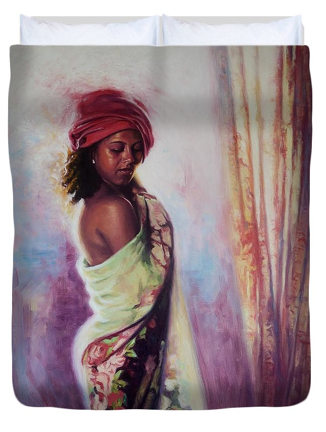 People Duvet Cover featuring the painting The Red Turban by Colin Bootman