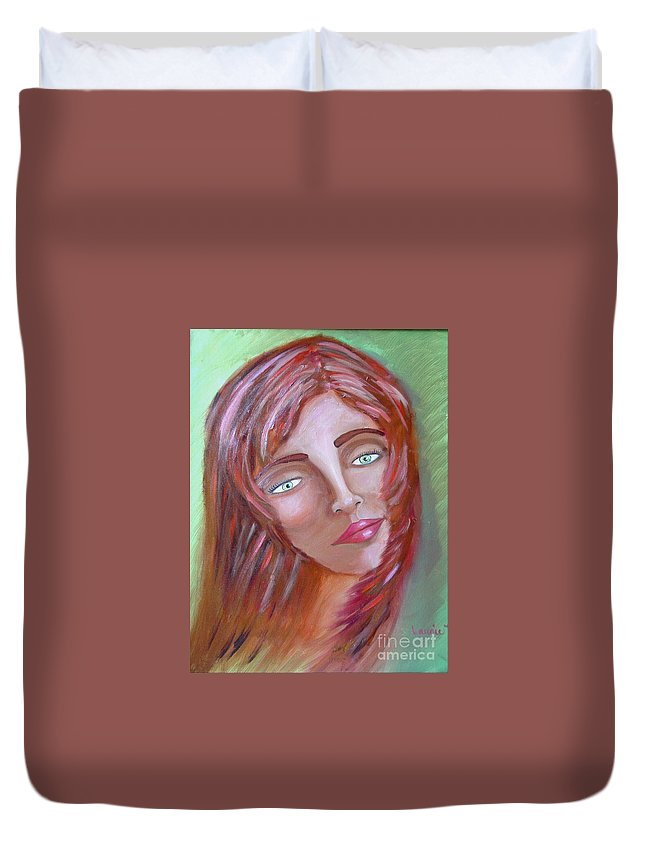 Redheads Duvet Cover featuring the painting The Redhead by Laurie Morgan