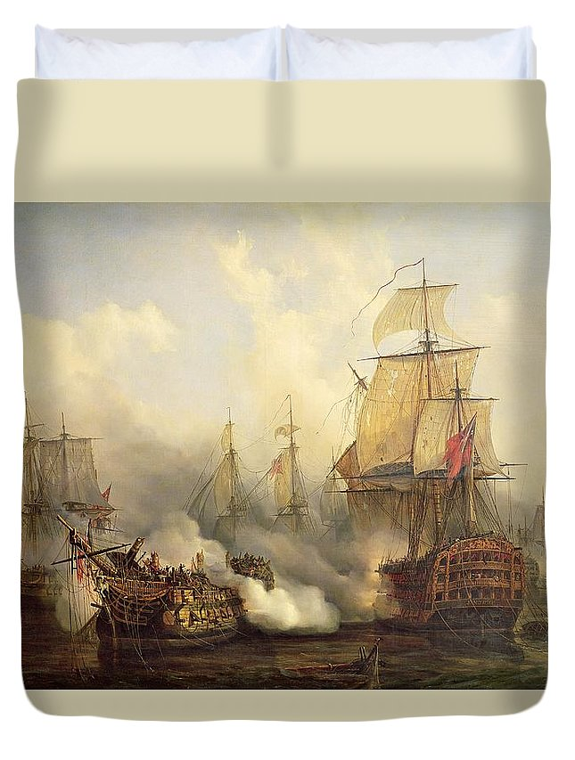 The Duvet Cover featuring the painting Unknown Title Sea Battle by Auguste Etienne Francois Mayer