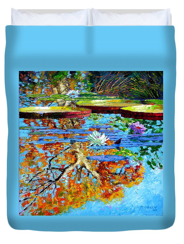 Fall Duvet Cover featuring the painting The Reflections Of Fall by John Lautermilch