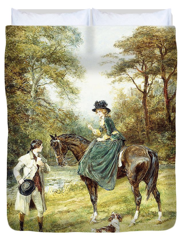 Valentines Day Duvet Cover featuring the painting The Rendezvous by Heywood Hardy