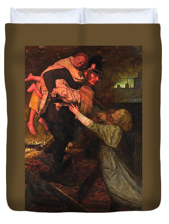 19th Century English Painters Duvet Cover featuring the painting The Rescue by John Everett Millais