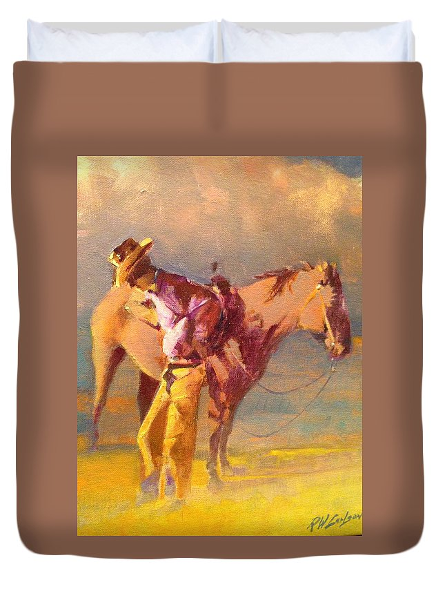 Horse Cowboy Duvet Cover featuring the painting The Respite by R W Carlson
