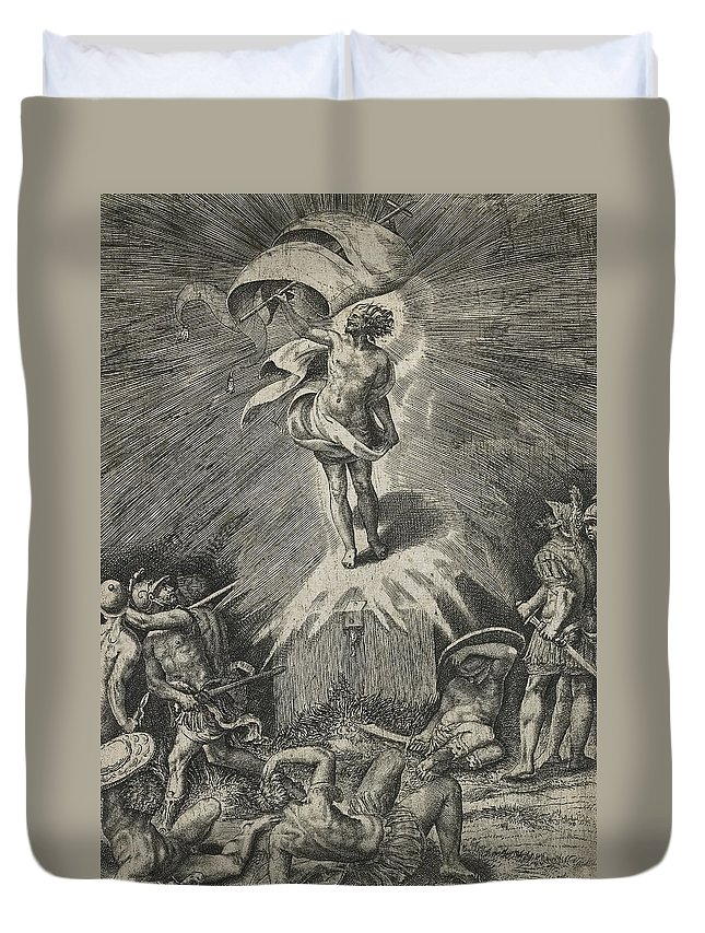 Resurrection Duvet Cover featuring the drawing The Resurrection by Giulio Bonasone