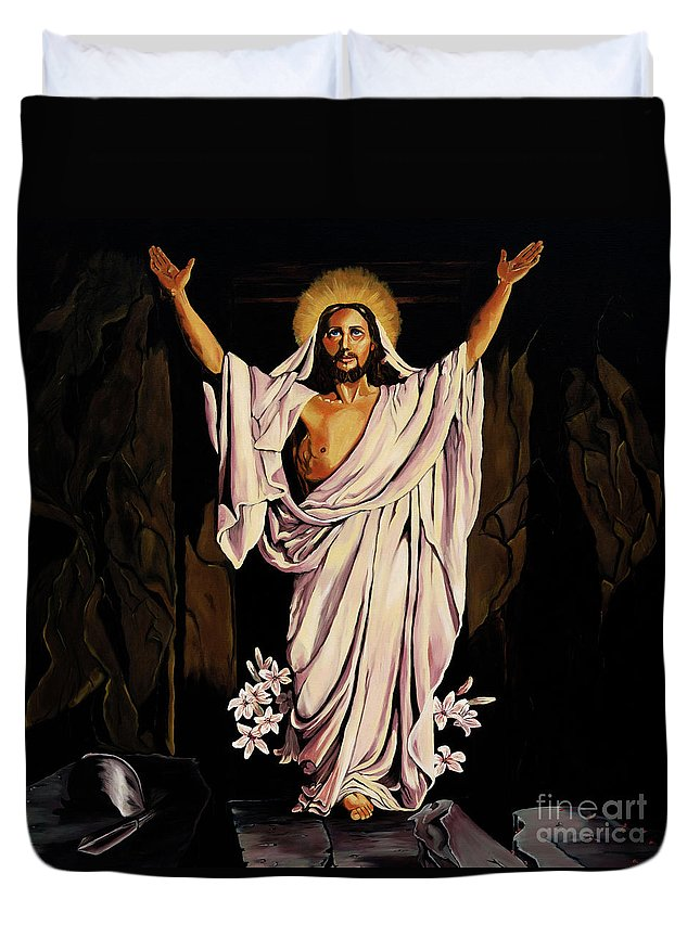 Religious Duvet Cover featuring the painting The Resurrection by Milagros Palmieri