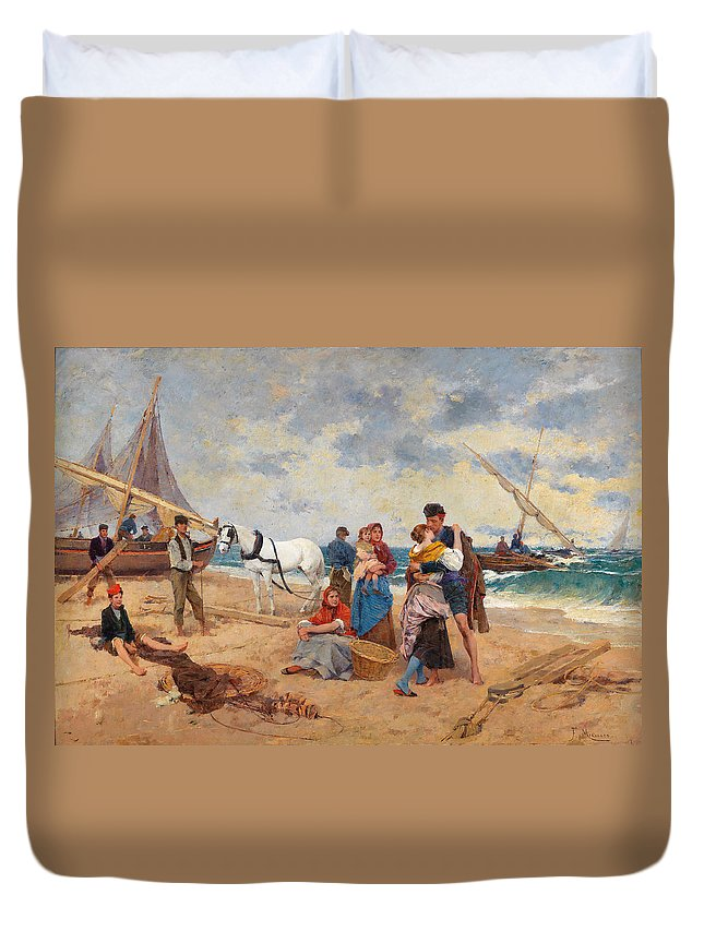 Francesco Miralles Galup Duvet Cover featuring the drawing The Return Of Fishermen by Francesco Miralles Galup