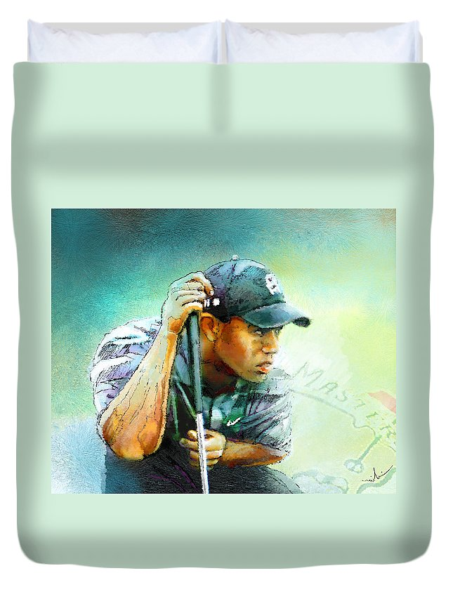 Portrait Duvet Cover featuring the painting The Return Of The Tiger 01 - Stalking 01 by Miki De Goodaboom