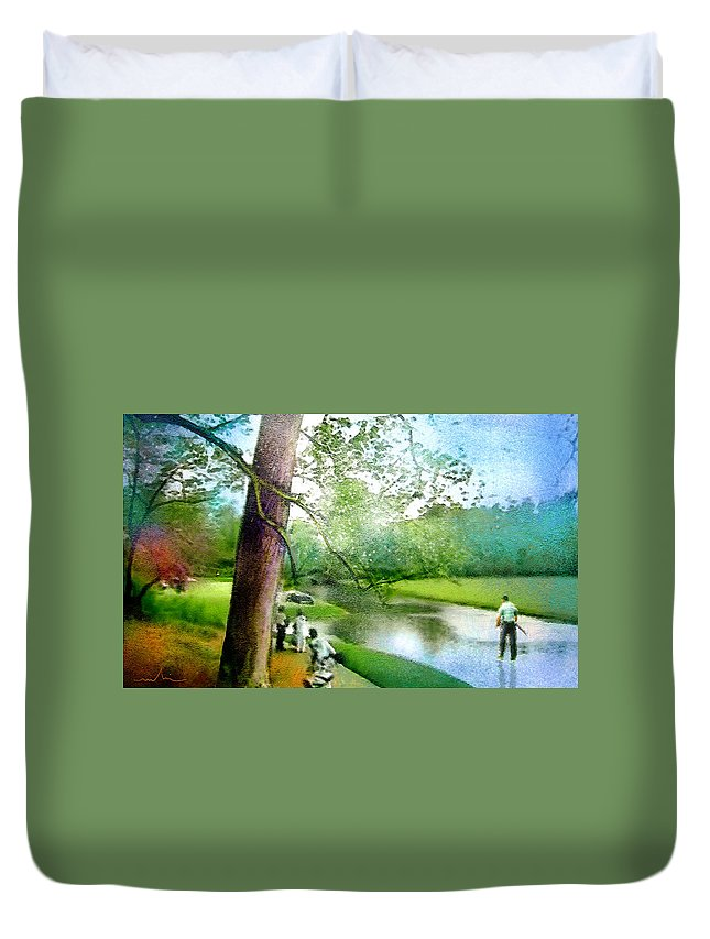 Portrait Duvet Cover featuring the painting The Return Of The Tiger 03 - Walking On Water by Miki De Goodaboom