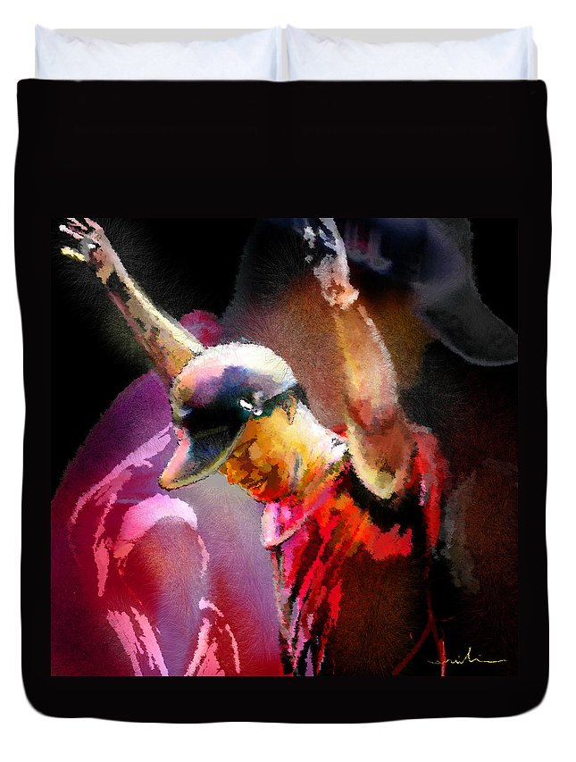 Tiger Woods Duvet Cover featuring the painting The Return Of The Tiger 04 - The Eagle by Miki De Goodaboom