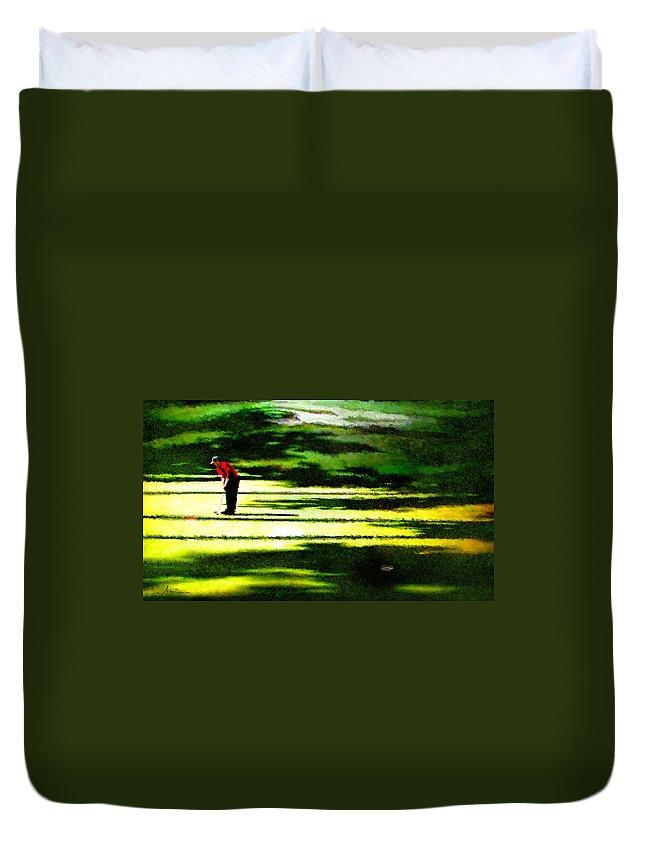 Golf Art Duvet Cover featuring the digital art The Return Of The Tiger 05 by Miki De Goodaboom
