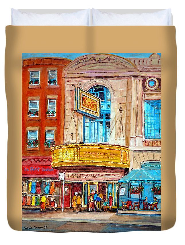 Montreal Duvet Cover featuring the painting The Rialto Theatre Montreal by Carole Spandau