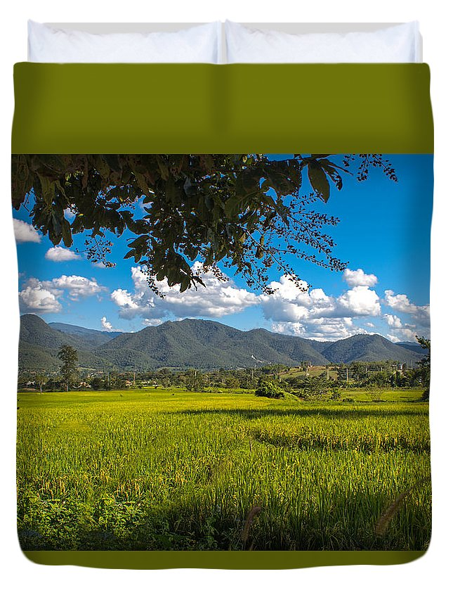 Mountain Duvet Cover featuring the photograph The Rice Fields Of Pai, Thailnad by Nomadic Ninja Negativs