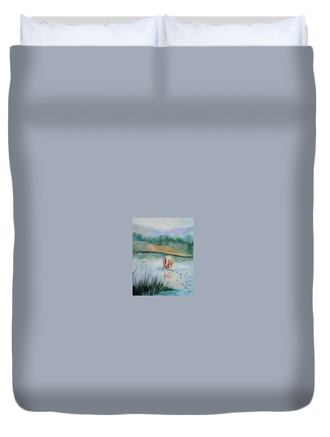 Figurative Duvet Cover featuring the painting The Rice Planter by Ginger Concepcion